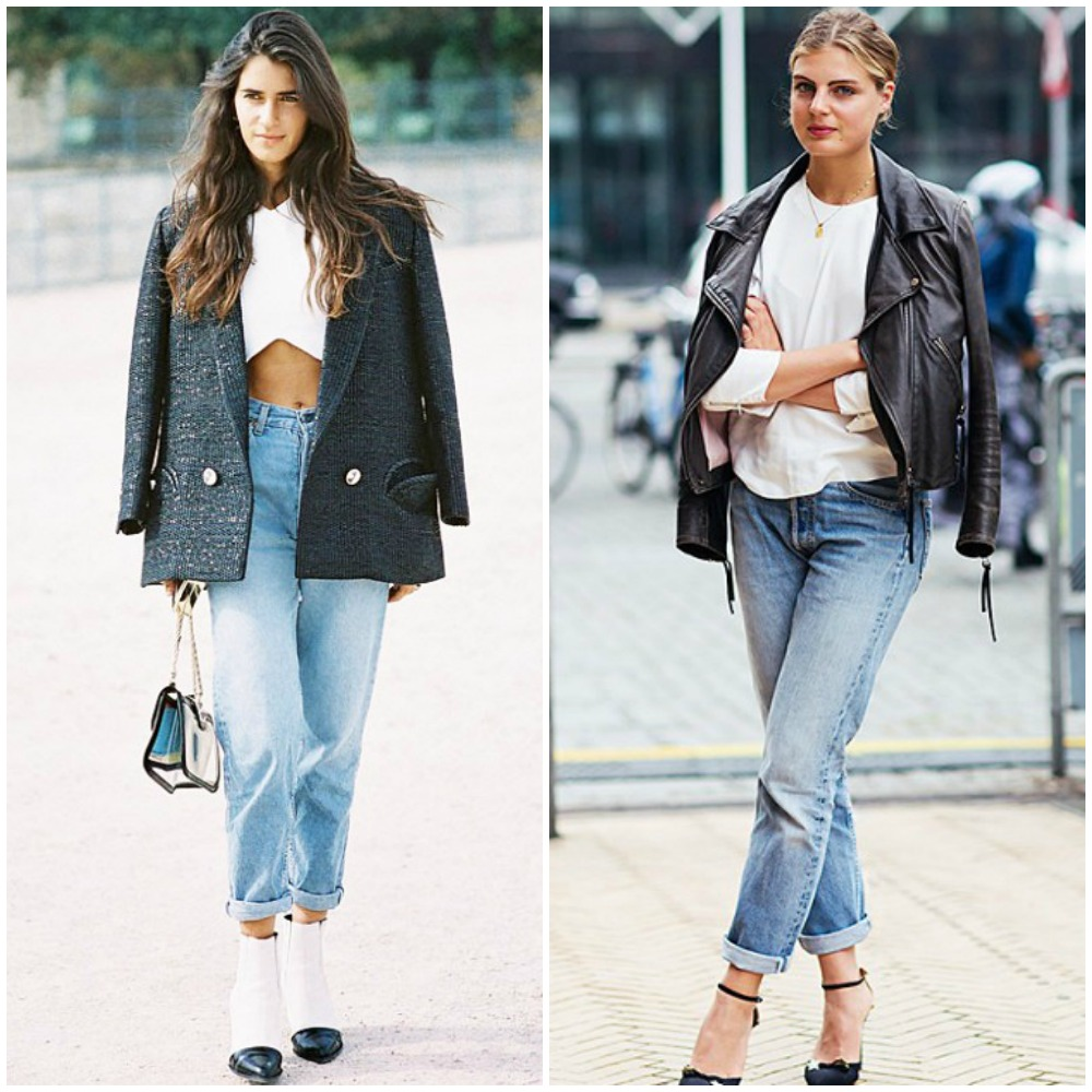 cropped rolled up cuff boyfriend jeans fall street style outfits 2014